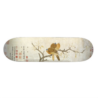 Monopatín floral animal de bambú de los pájaros
