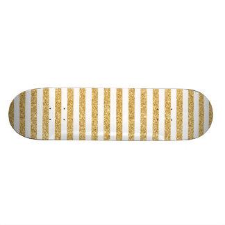 Monopatin Personalizado Falso brillo elegante del oro y modelo blanco de