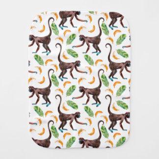 Monos dulces que hacen juegos malabares plátanos paños para bebé