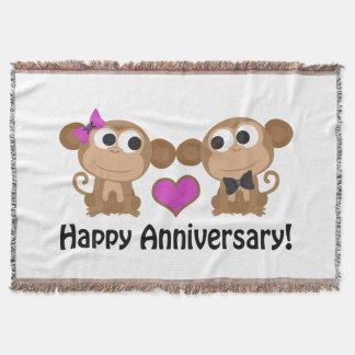 Monos felices del aniversario manta