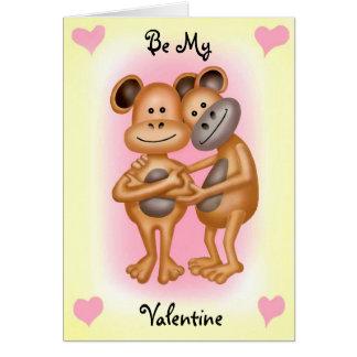 Monos frescos en amor tarjeta de felicitación