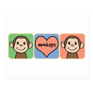 Monos lindos del clip art del dibujo animado con postal
