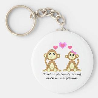 Monos lindos - el amor verdadero viene adelante un llavero redondo tipo chapa