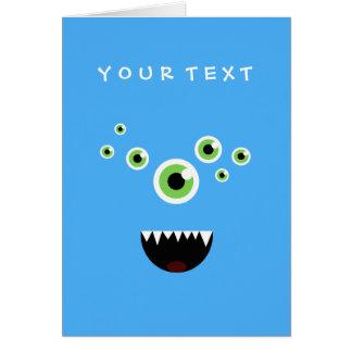 Monstruo azul lindo loco divertido único tarjeta
