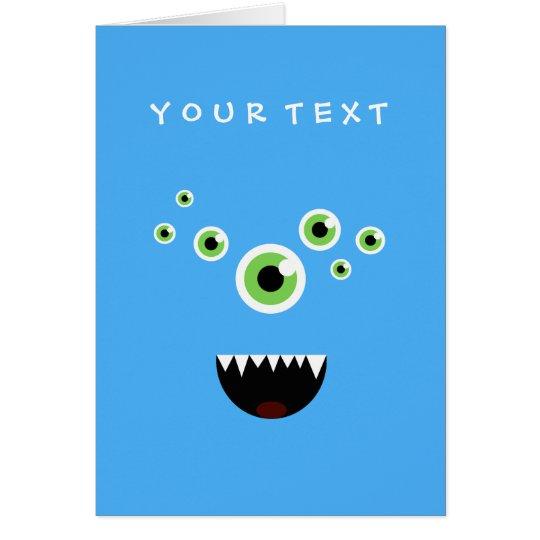 Monstruo azul lindo loco divertido único tarjeta de felicitación