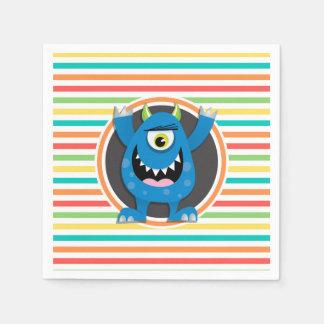 Monstruo azul; Rayas brillantes del arco iris Servilletas Desechables