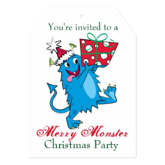 Monstruo con el regalo del navidad invitación 12,7 x 17,8 cm