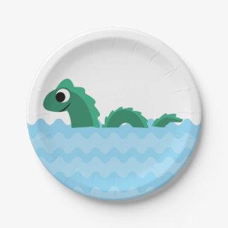 Monstruo de mar lindo plato de papel