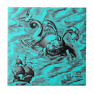 Monstruo de mar y velero árticos azulejo de cerámica