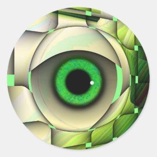 Monstruo de ojos verdes pegatina redonda