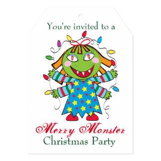 Monstruo del navidad con el regalo invitación 12,7 x 17,8 cm