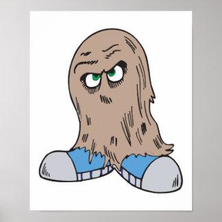 monstruo divertido del pelo con los zapatos posters