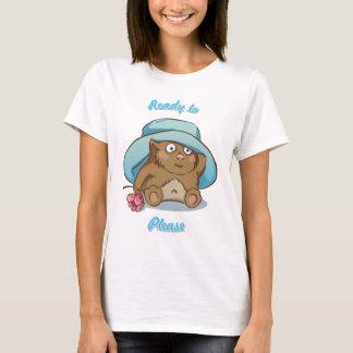 Monstruo en gorra con la flor camiseta