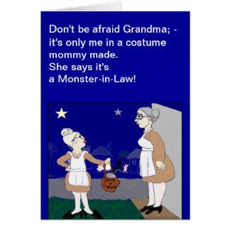 Monstruo en tarjeta de felicitación de Halloween