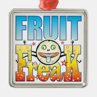 Monstruo extraño de la fruta adorno cuadrado plateado