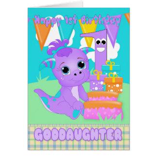 Monstruo lindo del 1r cumpleaños de la ahijada tarjeta de felicitación