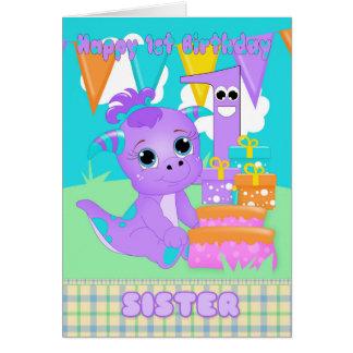 Monstruo lindo del 1r cumpleaños de la hermana tarjeta de felicitación