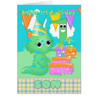Monstruo lindo del 1r cumpleaños del hijo pequeño tarjeta de felicitación