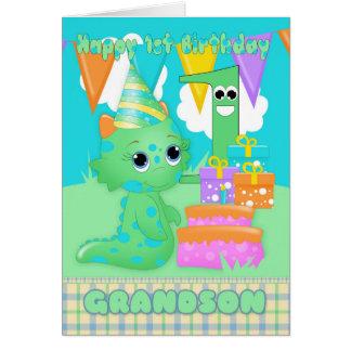 Monstruo lindo del 1r cumpleaños del nieto pequeño tarjeta de felicitación