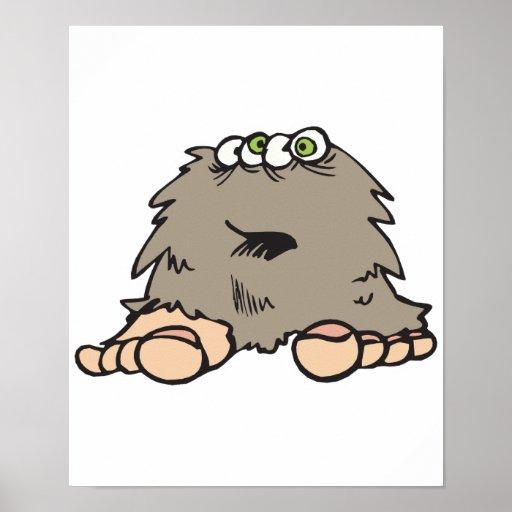 monstruo peludo divertido de Bigfoot Posters