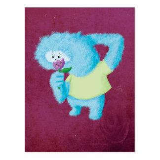 Monstruo peludo grande azul postal