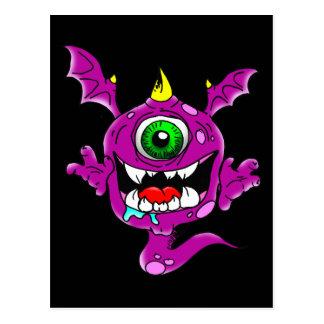 Monstruo púrpura lindo del comedor de la gente postal