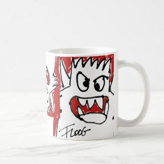 Monstruo rojo del dibujo animado taza de café