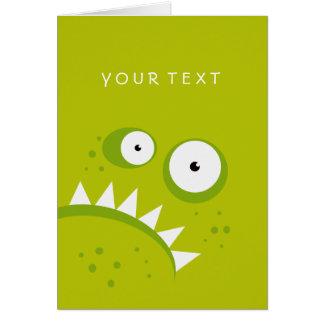 Monstruo verde asustadizo divertido enojado gruñón tarjeta