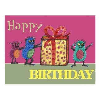 """Monstruos lindos del """"feliz cumpleaños"""" postal"""