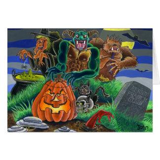 Monstruos y fantasmas del feliz Halloween Tarjeta