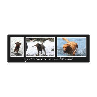 Montaje del mascota para tres imágenes lienzo