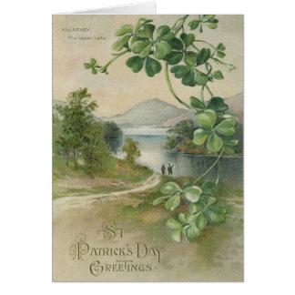 Montaña de Killarney del trébol de cuatro hojas Tarjeta De Felicitación