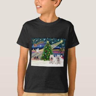 Montaña del oeste mágica Terrier (dos) del navidad Camiseta