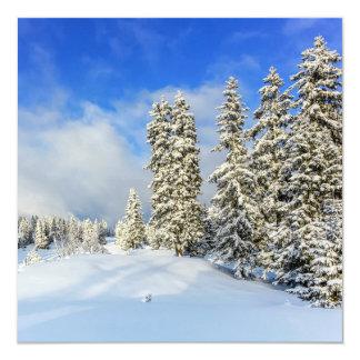 Montaña en invierno, Suiza del Jura Invitación 13,3 Cm X 13,3cm