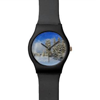Montaña en invierno, Suiza del Jura Reloj De Pulsera