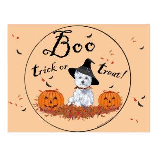 Montaña Terrier blanco del oeste Halloween Postal