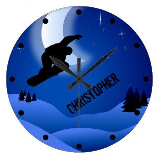 Montaña y luna personalizadas de la snowboard de reloj redondo grande
