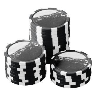 Montañas blancos y negros Nevado Juego De Fichas De Póquer