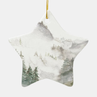 Montañas brumosas adorno de cerámica