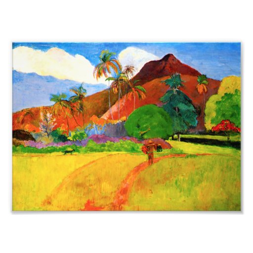 Montañas de Gauguin en la impresión de la foto de