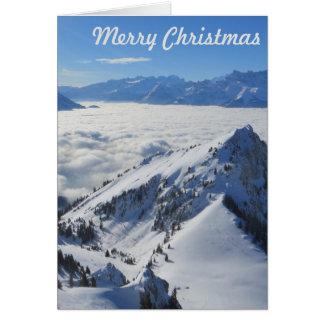 Montañas de la foto de la tarjeta de Navidad