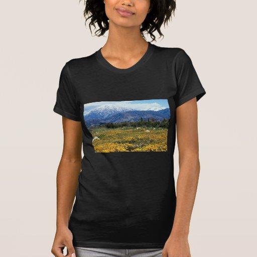 Montañas de San Bernardino, nieve, flores Camisetas