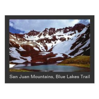 Montañas de San Juan, rastro azul de los lagos Postal