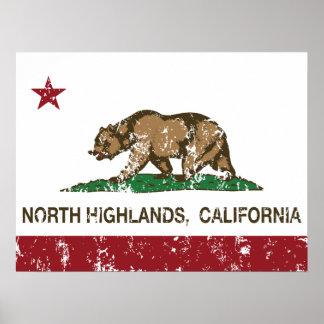 Montañas del norte de la bandera del estado de Cal Póster