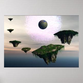 Montañas flotantes una tierra en el fondo poster