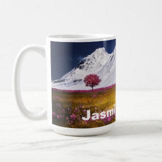 Montañas hermosas Nevado rosadas/flores púrpuras Taza De Café