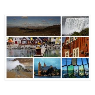 Montañas reykjavik de la cascada del collage de postal