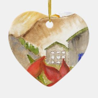 Montañas y flores adorno navideño de cerámica en forma de corazón