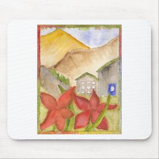 Montañas y flores tapetes de ratón