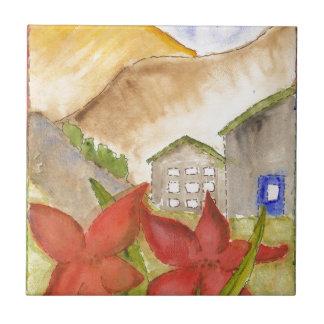 Montañas y flores azulejo cuadrado pequeño